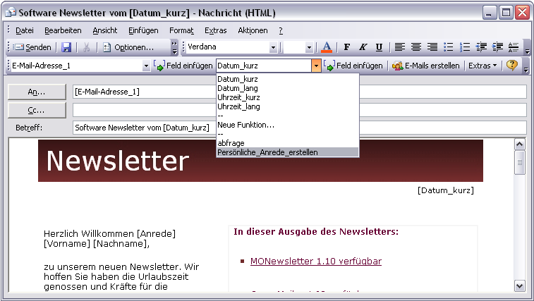 E-Mail-Marketing und Newsletter Software Outlook Add.In MONewsletter